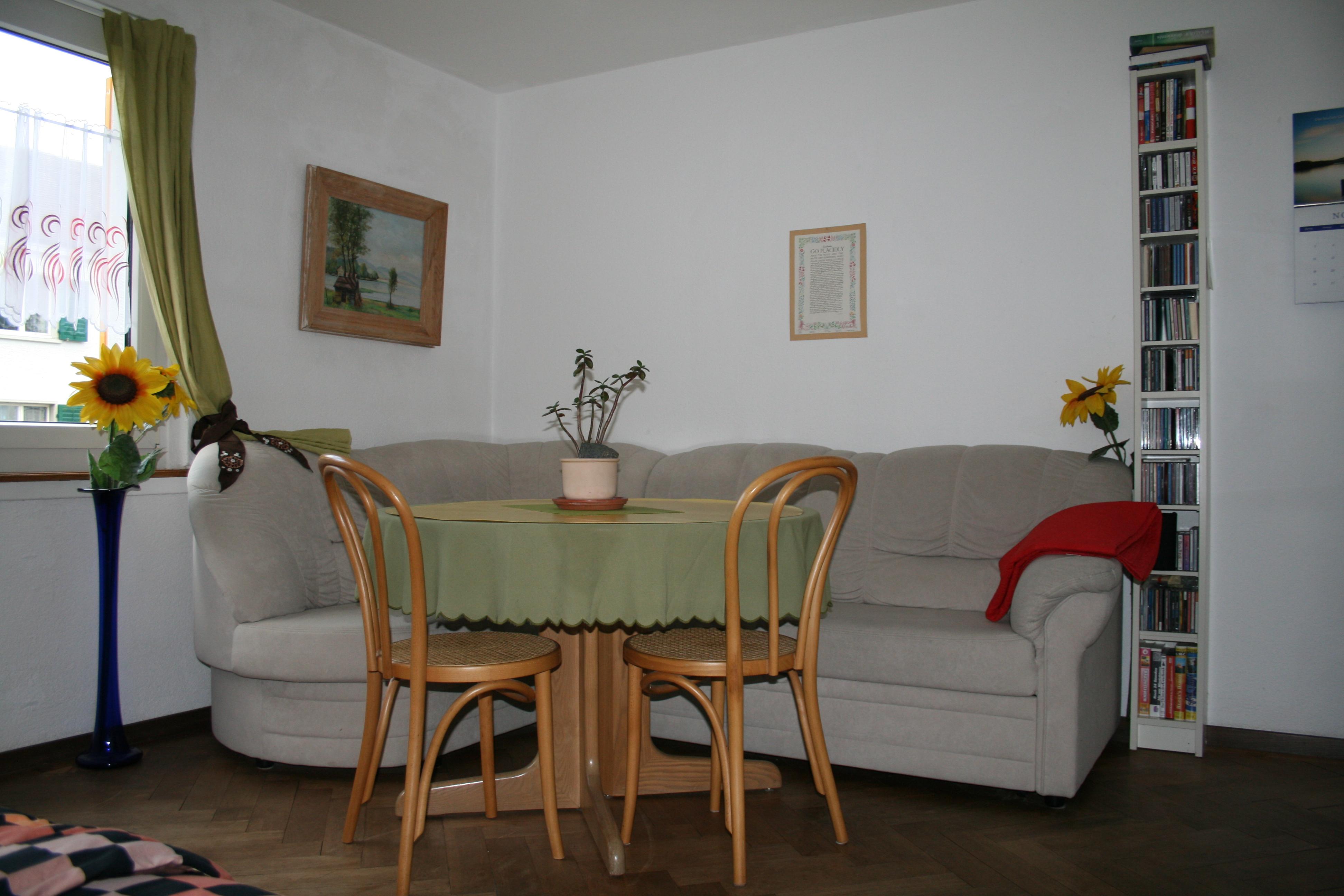 Zimmer Zürich 2, ein Schreib- und Gemütlichkeitsecke mit bequemem Sofa, das ausziehbar wäre, und auf Anfrage dies auch allenfalls möglich ist